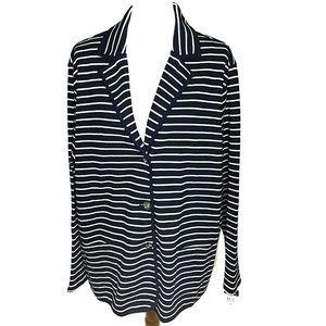 Chaps Button Front Knit Blazer Blue White Striped
